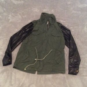 Jackets & Blazers - Green jacket with black faux leather sleeve size M